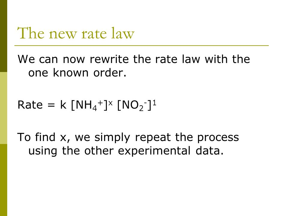 The new rate law We can now rewrite the rate law with the one known order. Rate = k [NH4+]x [NO2-]1.